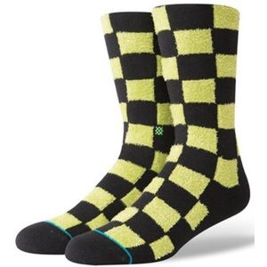 2/$17 STANCE Checkered Green Black Crewcut Sock